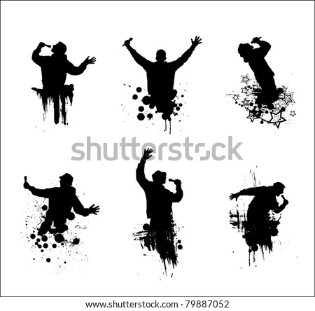 Set of poses for music concert - stock vector