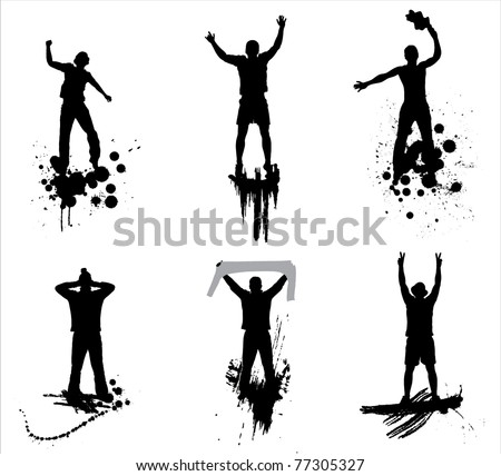 Set of poses from fans for sports championships and music concerts - stock vector