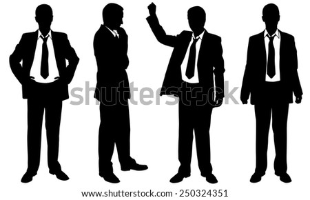 set of posing businessmen - stock vector