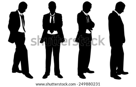 set of posing businesspeople