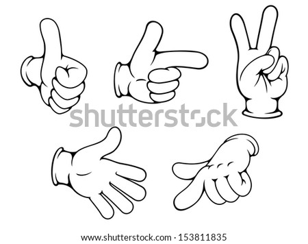 Set of positive hands gestures in cartoon style. Jpeg version also available in gallery - stock vector