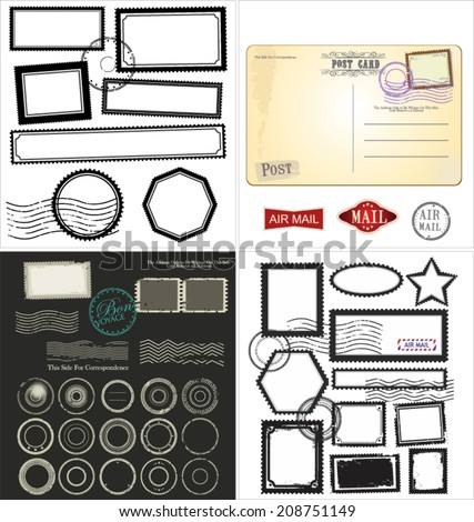 Set of post stamp symbols, collection - stock vector