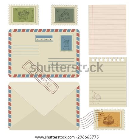 Set of post stamp symbols, vector illustration - stock vector