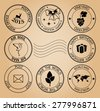 set of post stamps for holidays and ecology on aged background - vector - stock vector