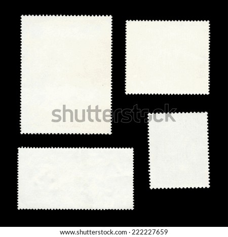 set-of-post-stamps-reverse-side-isolated-on-black - stock vector