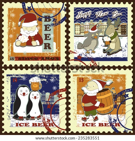 Set of postage stamps. Set contains images of reindeer with beer mug,owl, town silhouette,Santa with beer mug in hand, santa with beer turn, penguins,text and price. - stock vector