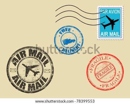 Set of postage symbols, vector illustration