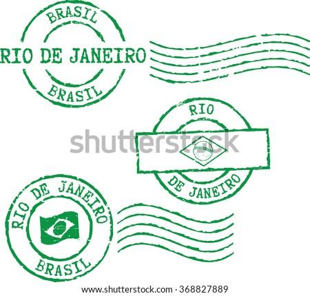 Set of postal grunge stamps ''Rio de Janeiro-Brazil''. - stock vector