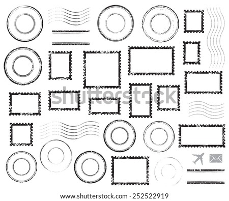 Set of postal stamps and postmarks, black isolated on white background, vector illustration. - stock vector