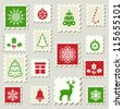 Set of postal stamps with Christmas decoration symbols. Vector illustration. - stock