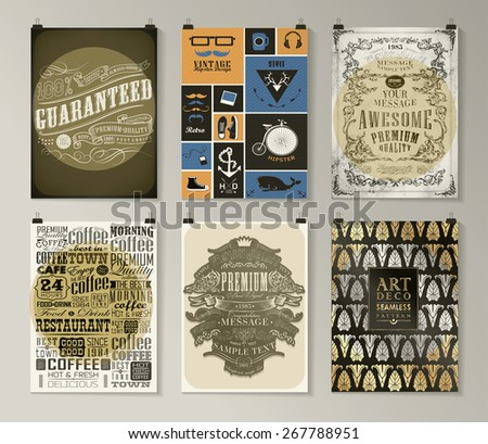 Set of poster, flyer, brochure design templates in different styles. Infographic concept. Abstract modern backgrounds.  - stock vector