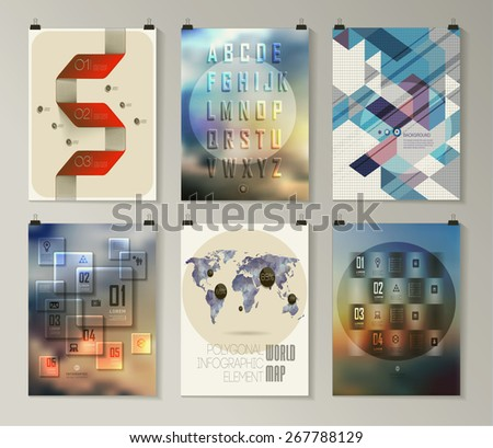 Set of poster, flyer, brochure design templates. Infographic concept. Abstract modern backgrounds.  - stock vector