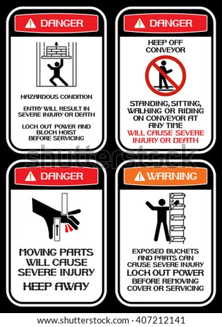 Set of posters on health and safety in the production technique when working with mechanical lines. - stock vector