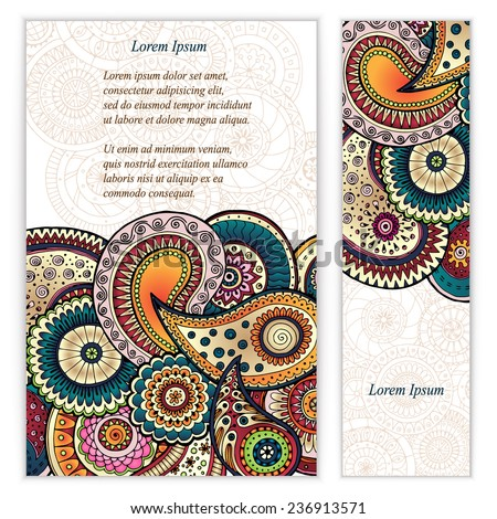Set of posters with doodle paisley for your business. Used clipping mask for easy editing. Vector abstract background for invitations, business documents, cards, flyers and placards. Sale brochure. - stock vector