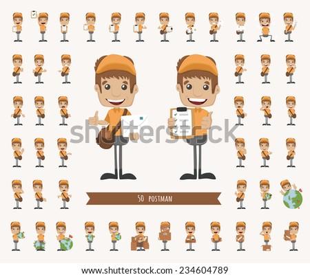 Set of postman character , eps10 vector format - stock vector