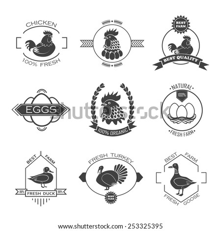 Set of poultry farm logo, emblem. Chicken, turkey, goose, duck. - stock vector