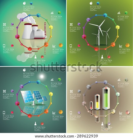 Set of  power plants vector image. Green industry infographic - stock vector