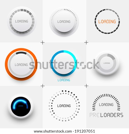 Set of Preloaders - for loading items. Progress loading icons. Vector illustration. - stock vector