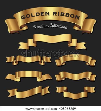 Set of premium golden ribbons for your design. Vector illustration - stock vector