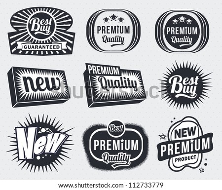 Set of Premium Quality and Guarantee Labels - retro vintage styled design - stock vector