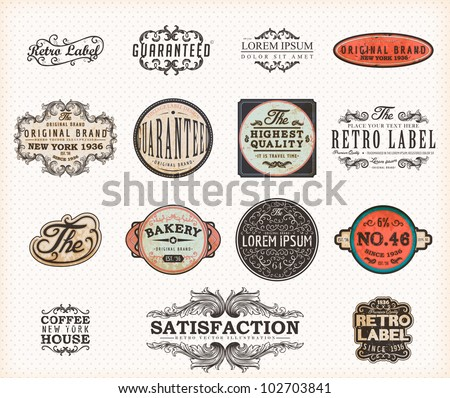 Set of Premium Quality and Guarantee Labels with retro vintage styled design, dirty and rusty texture vector - stock vector