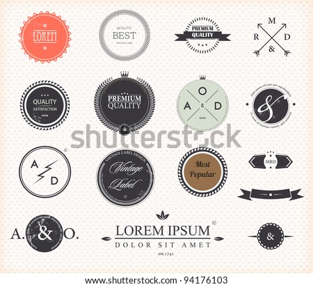 Set of Premium Quality and Guarantee Labels with retro vintage styled design, vector - stock vector