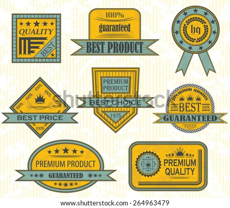 Set of premium quality and retro labels. Vintage Design. Grunge background           - stock vector