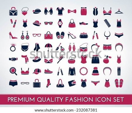 Set of premium quality fashion and cosmetics icons - stock vector