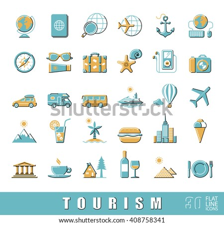 Set of premium quality flat line fun and games icons. Collection of  vector icons for travel, tourism, leisure, holiday, vacation, booking.  Infographic design elements collection. Web graphics.