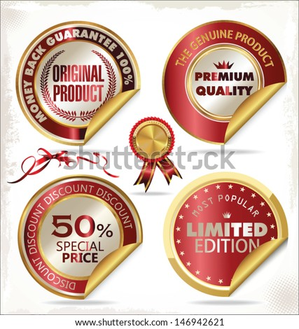 Set of premium & quality golden labels - stock vector