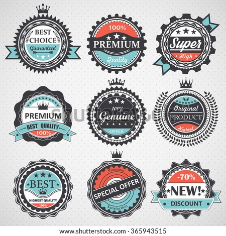 Set of premium quality, guaranteed, genuine badges, retro elements vector - stock vector
