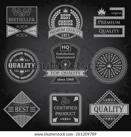 Set of premium quality labels. Retro Design. Grunge background. Original style       - stock vector