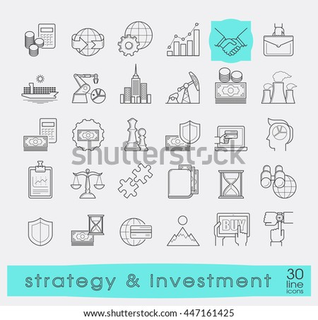 Set of premium quality line strategy and investment icons. Collection of web business icons. Vector illustration. - stock vector