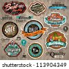 Set of Premium Quality Vintage Label with high contrast colors and water drops. Old style and distressed look, - stock vector