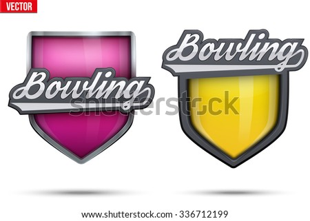 set of premium symbols of bowling label and tag symbol of sport or club