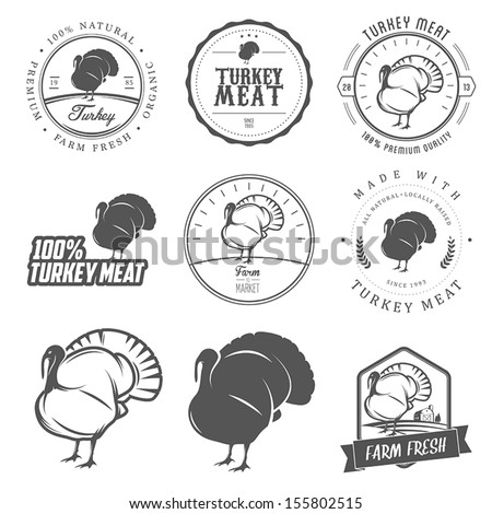 Set of premium turkey meat labels and stamps - stock vector