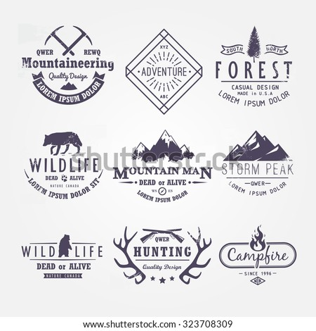 Set of premium vector labels on the themes of wildlife, nature, hunting, travel, wild nature, climbing, life in the mountains, survival. Retro, vintage, casual design. #2 - stock vector