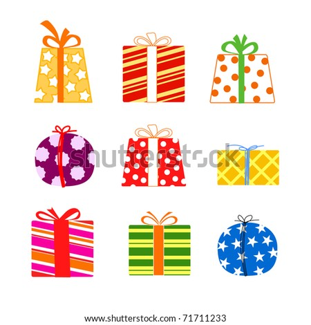 Set of present boxes - stock vector