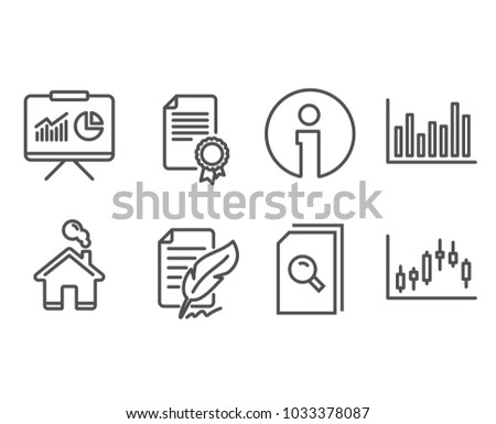 Set Presentation Feather Signature Certificate Icons Stock Vector