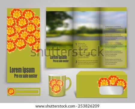 Set of presentation of flyer design content background. - stock vector