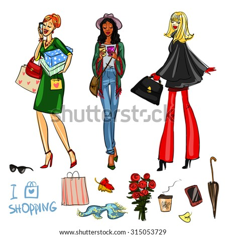 Set of pretty fashionable women  - stock vector