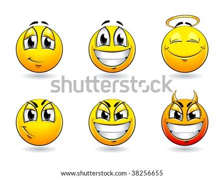 Set of pretty smiles-balls. Vector illustration. - stock vector