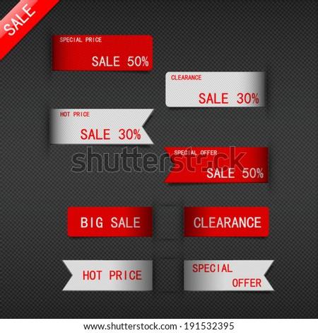 set of price sale ribbon. - stock vector