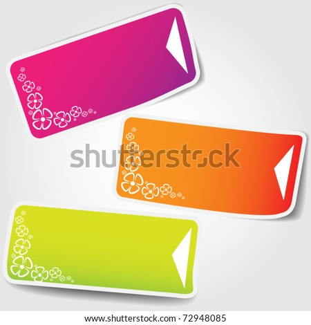 Set of price tag - clear - spring theme with flowers - stock vector