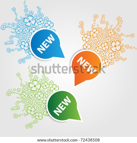 Set of price tags with small flower - stock vector
