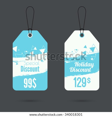 Set of price tags with smeared watercolor painting. special price, holiday discount and. Christmas tree, Christmas discounts. blue - stock vector