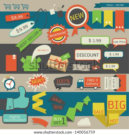 set of pricel tag - label, vector - stock vector