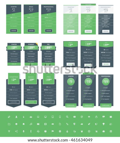 Set of Pricing Table Design Templates for Websites and Applications. Vector Pricing Plans with Icon Set. Green and Black Colors. Flat Style Vector Illustration