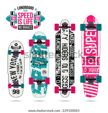 Set of prints on longboard in retro college style. Graphically print, variety form and bright colors - stock vector