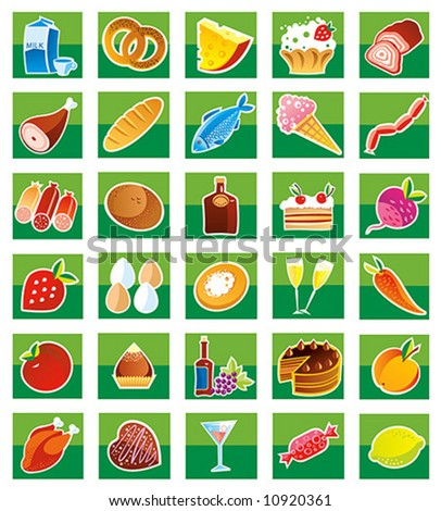 Set of products - stock vector
